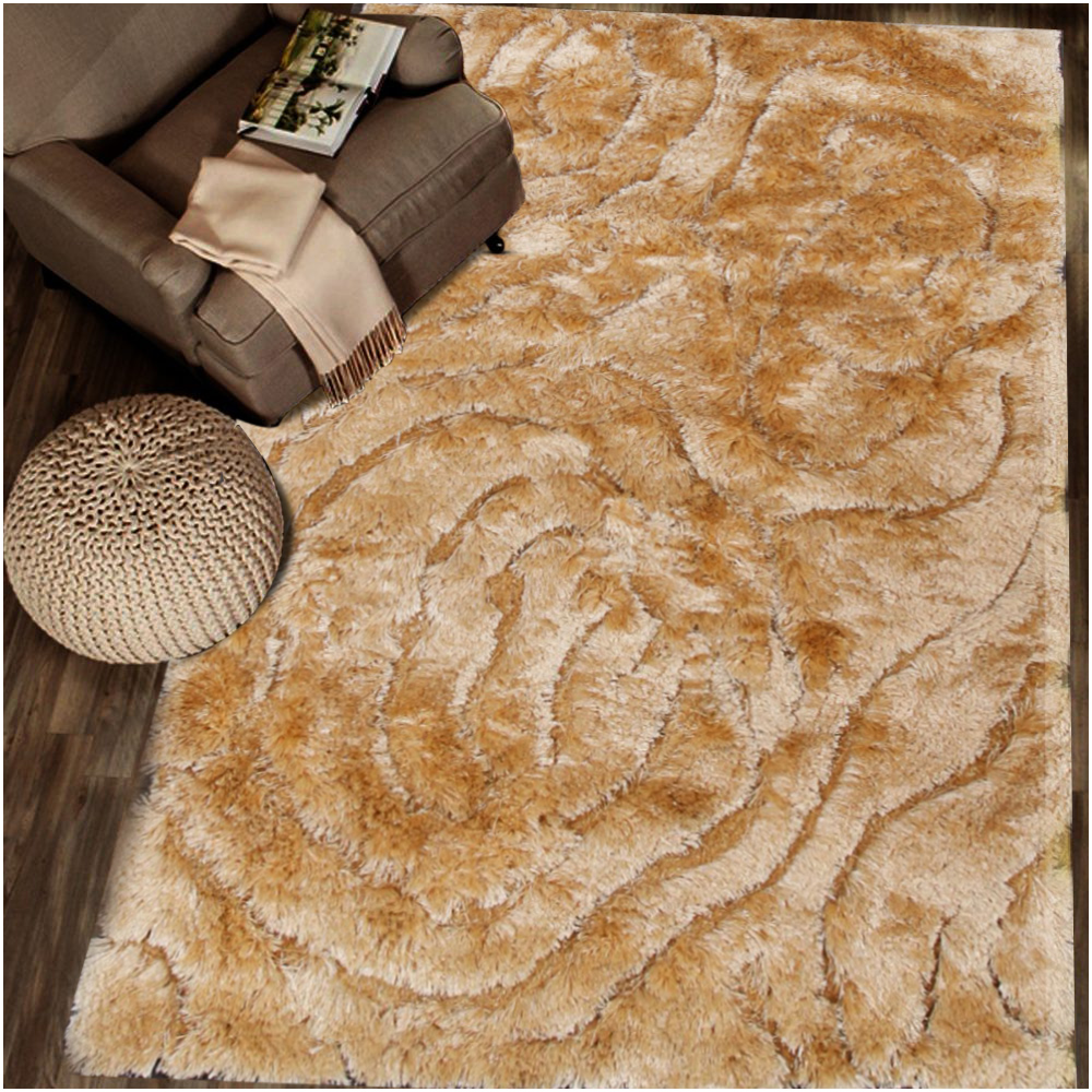 Smooth And Rich Beige Shag Rug