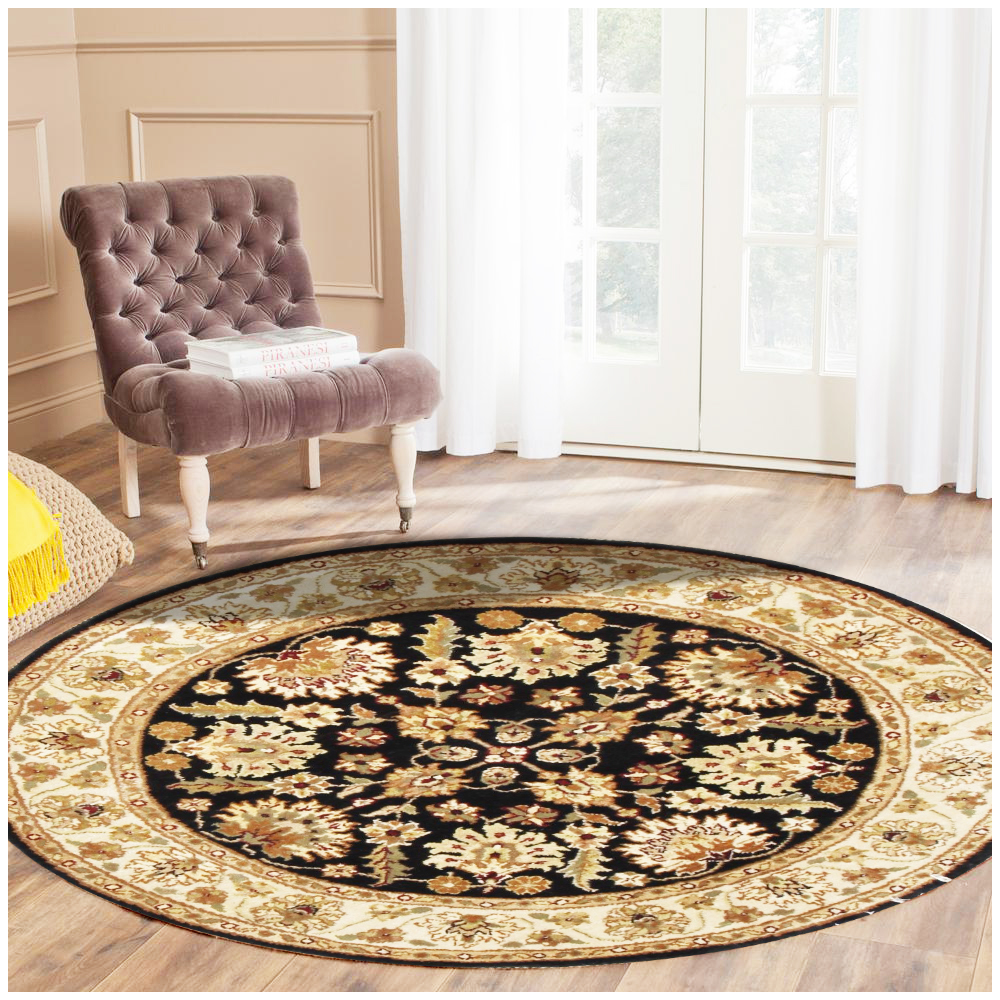 Black Persian-style Hand Knotted Floral Round Rug