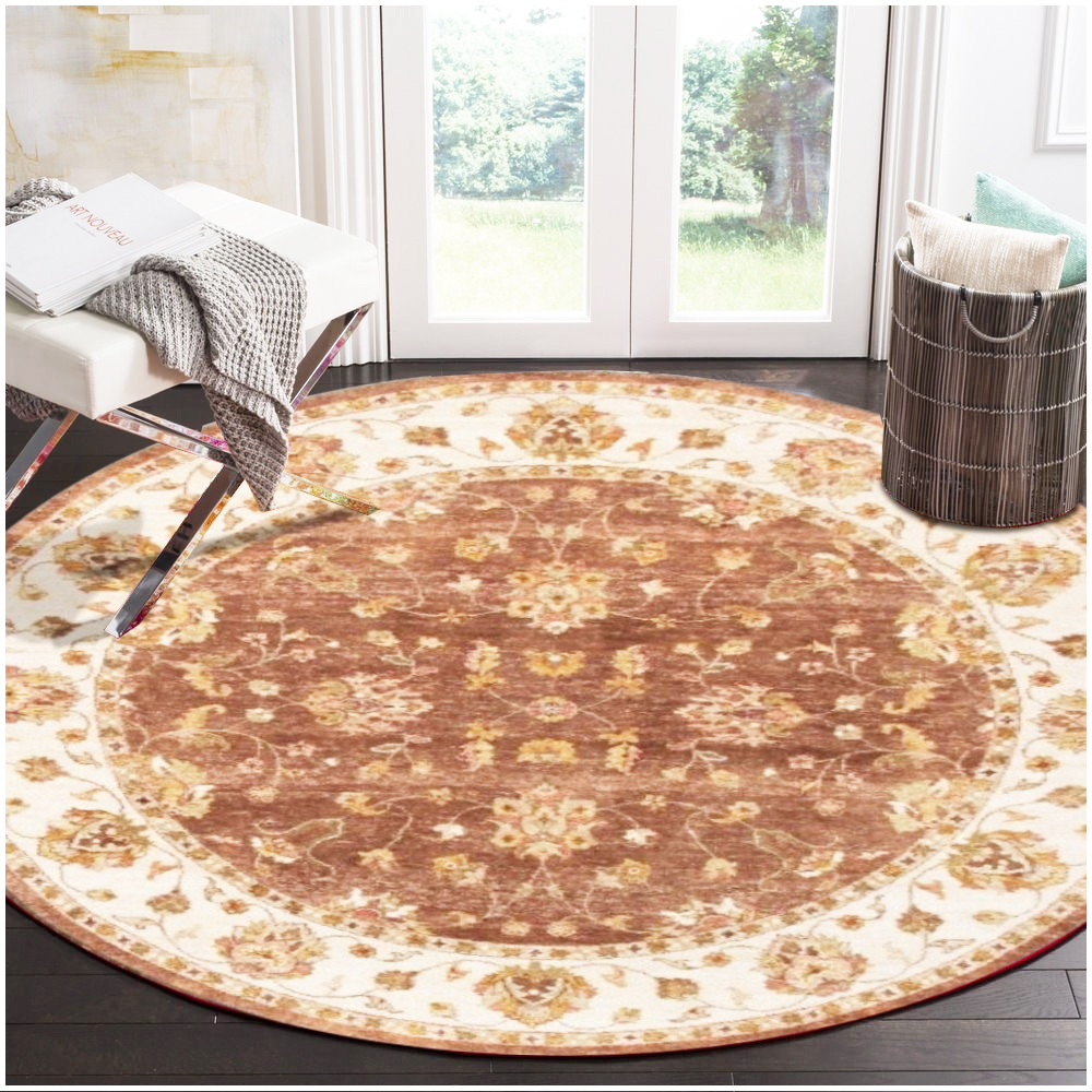 Ziegler Hand Knotted Brown White Vegetable Dyes Wool Round Rug