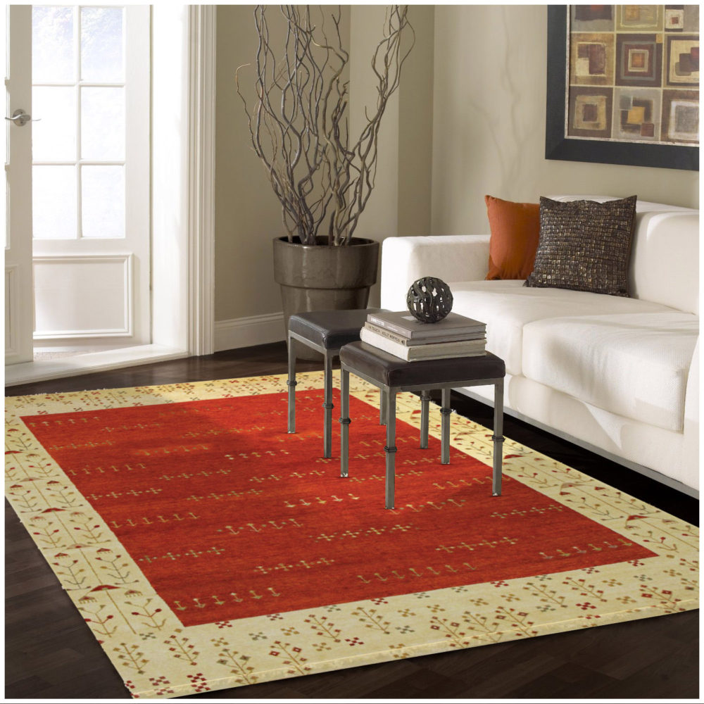 Persian Gabbeh Tribal Rust Wool Rug
