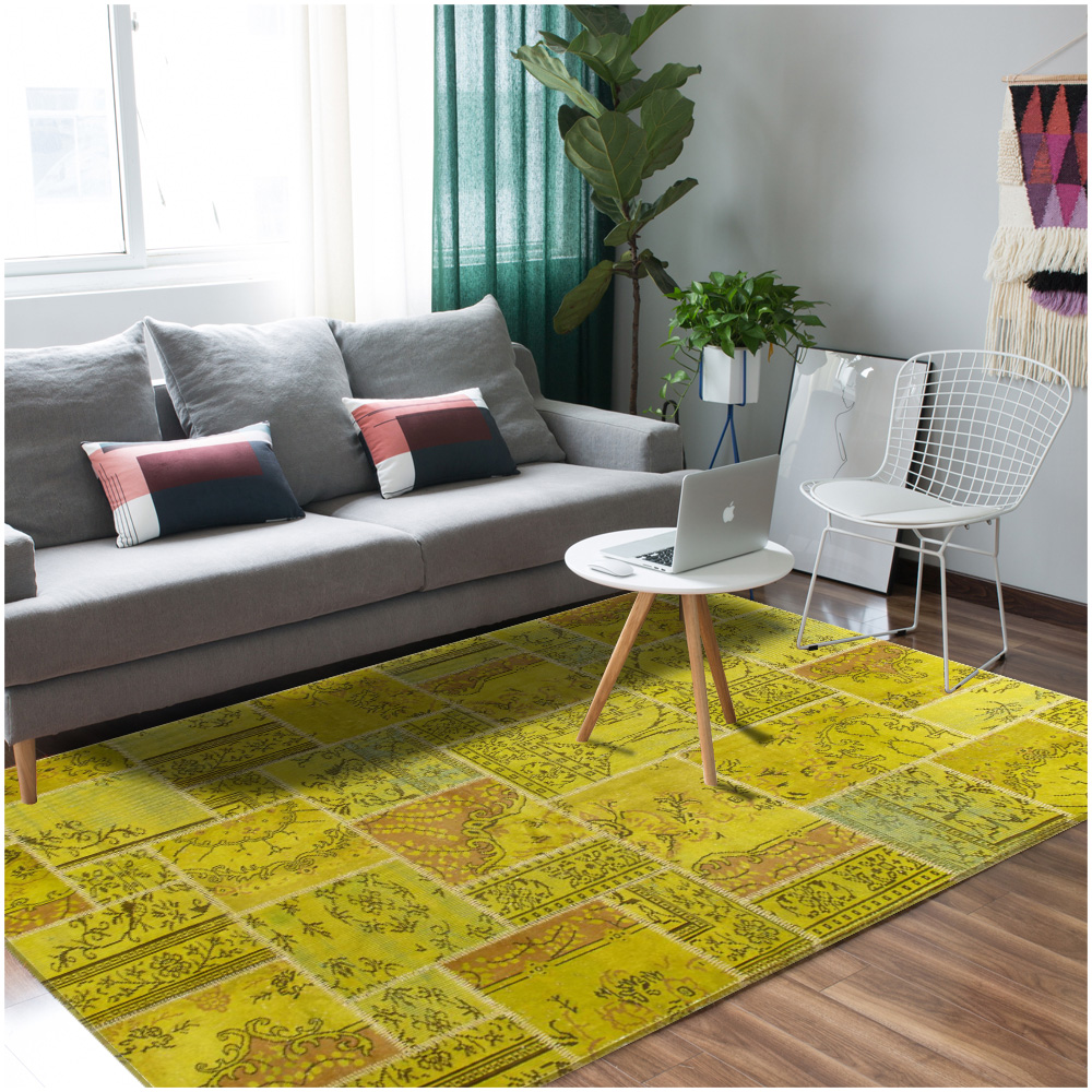 Vintage Patchwork Overdyed Green Wool Rug