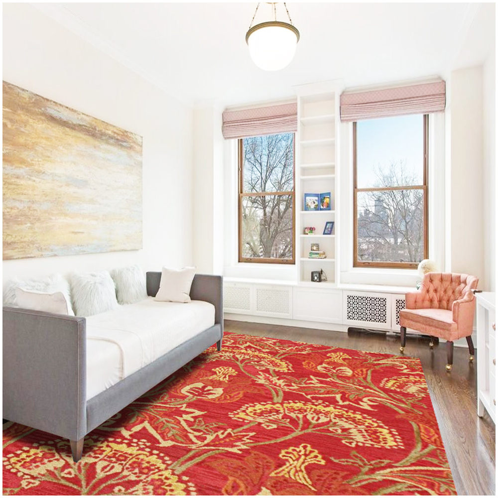 Adele Red Transitional Wool Rug