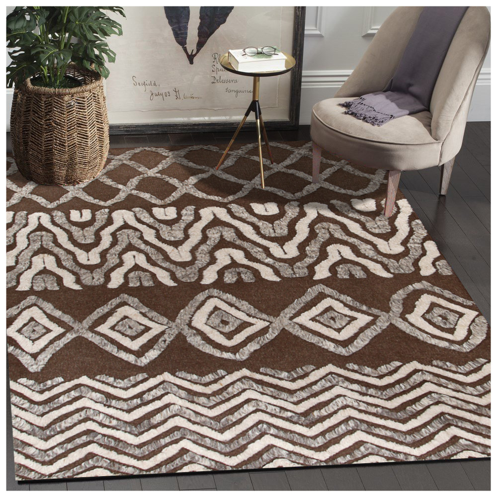 Moroccan Tribal Rim Soft Hand Knotted Brown Rug