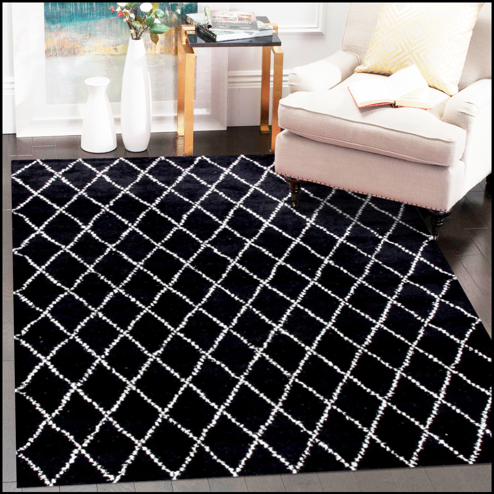 Beni Ourain Moroccan Hand Knotted Black Rug
