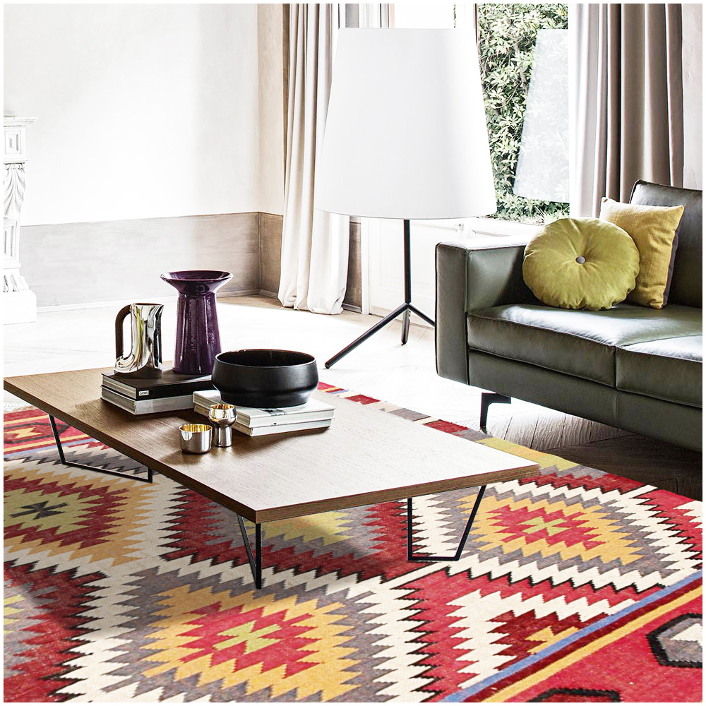 Flat Weave Kilim Southwestern Multi Handmade Wool Rug