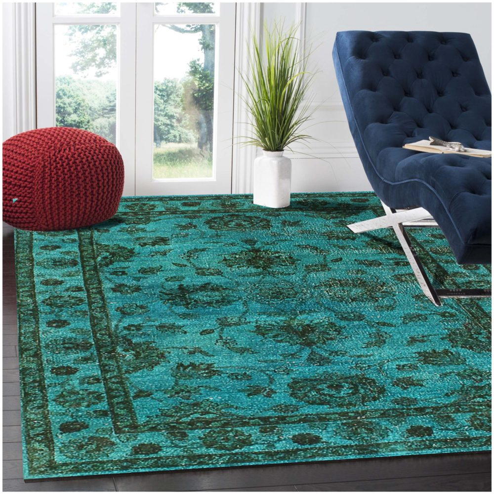Traditional Overdyed Light Blue Wool Rug