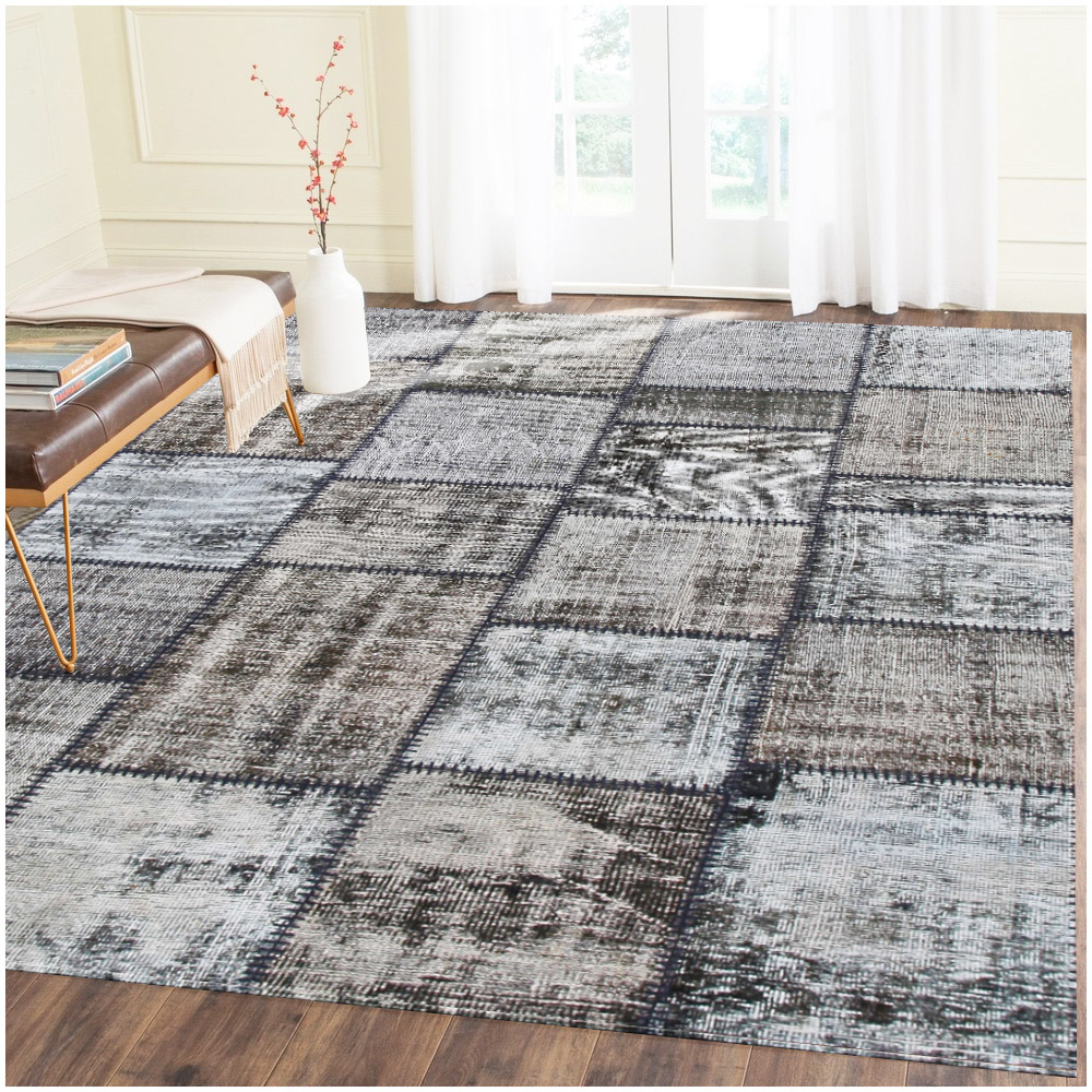 Patchwork Overdyed Black Wool Rug