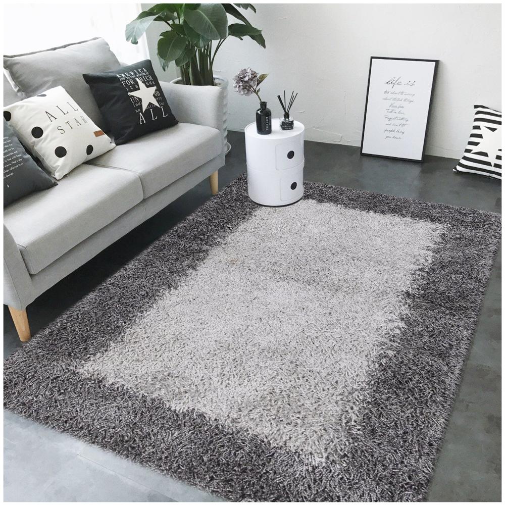 Rugsville Simple And Elegant Gray Black Shag Rug