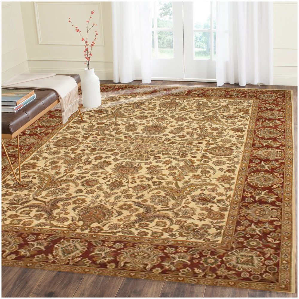 Sultanabad Hand Knotted Persian Ivory Rust Rug