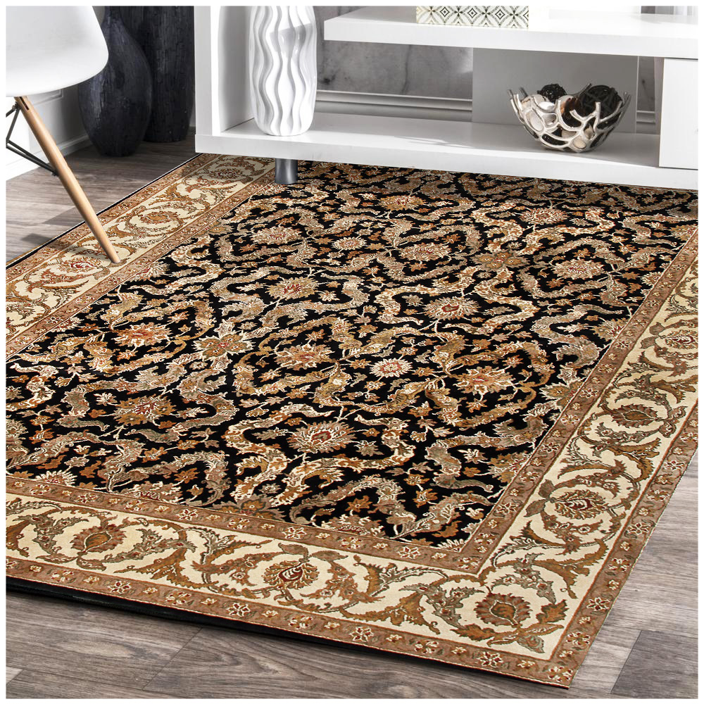 Jaipur Floral Hand Knotted Black Wool Rug